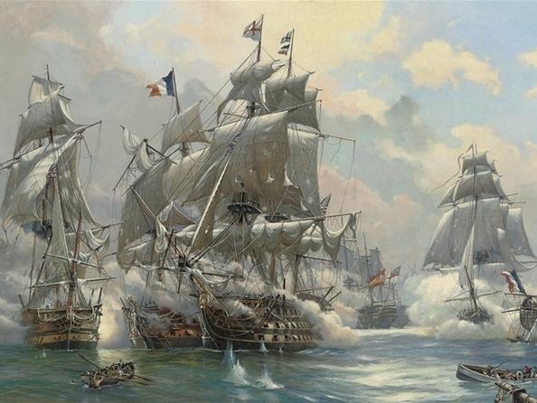 Строй кораблей смешался, каждый корабль искал себе противника и сражался с ним.  Нельсона увидел стрелок на...